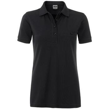 textil Dame Polo-t-shirts m. korte ærmer James And Nicholson  Black