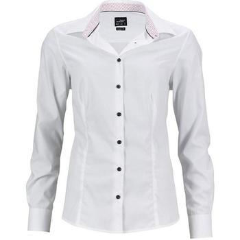 textil Dame Skjorter / Skjortebluser James And Nicholson  White/Red