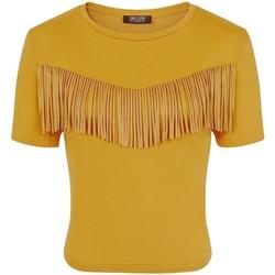 textil Dame T-shirts m. korte ærmer Girls On Film  Mustard Yellow