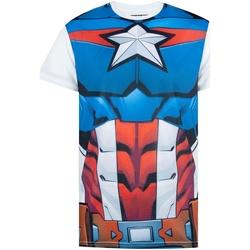textil Herre T-shirts m. korte ærmer Captain America  White/Blue/Red