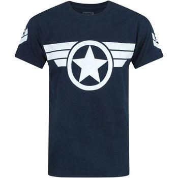 textil Herre T-shirts m. korte ærmer Captain America  Navy