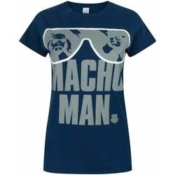 textil Dame T-shirts m. korte ærmer Wwe  Blue