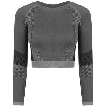 textil Dame Langærmede T-shirts Tombo TL352 Light Grey/Black