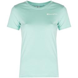 textil Dame T-shirts m. korte ærmer Champion  Blå