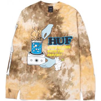 textil Herre Langærmede T-shirts Huf T-shirt mess tiedye ls Brun