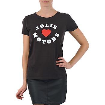 textil Dame T-shirts m. korte ærmer Kulte LOUISA JOLIEMOTOR 101954 NOIR Sort