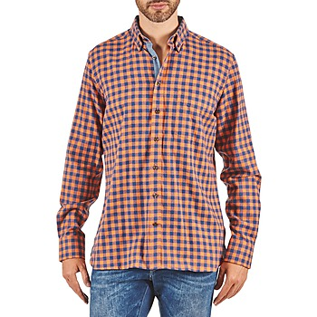 textil Herre Skjorter m. lange ærmer Hackett SOFT BRIGHT CHECK Orange / Blå