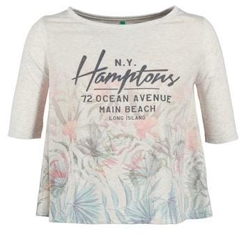 textil Dame T-shirts m. korte ærmer Benetton ESQUIQUO Hvid / Flerfarvet