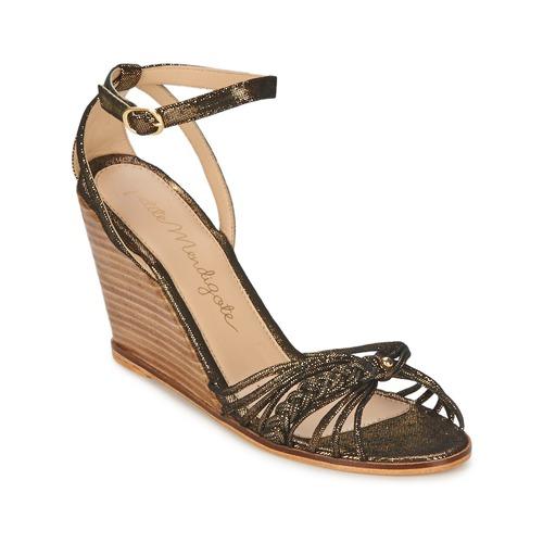 Sko Dame Sandaler Petite Mendigote COLOMBE Sort / Guld