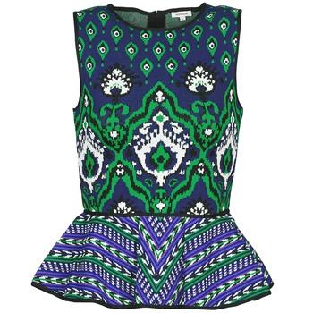 textil Dame Toppe / T-shirts uden ærmer Manoush JACQUARD OOTOMAN Blå / Sort / Grøn