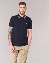 textil Herre Polo-t-shirts m. korte ærmer Fred Perry SLIM FIT TWIN TIPPED Marineblå / Hvid