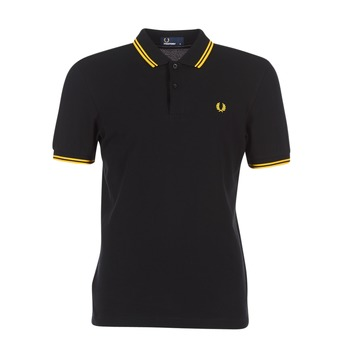 textil Herre Polo-t-shirts m. korte ærmer Fred Perry SLIM FIT TWIN TIPPED Sort / Gul