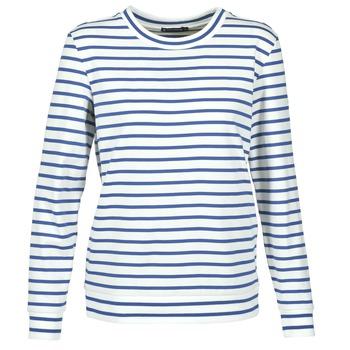 textil Dame Sweatshirts Petit Bateau BEAM Hvid / Marineblå