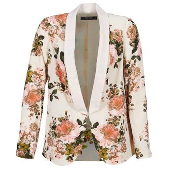 textil Dame Jakker / Blazere Vila VIFLOURISH BLAZER BEIGE / Blomstret
