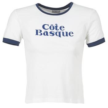 textil Dame T-shirts m. korte ærmer Loreak Mendian COTE BASQUE BEIGE / Marineblå