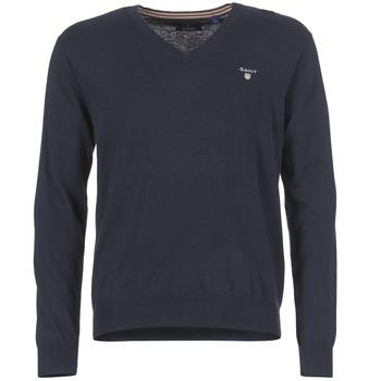 textil Herre Pullovere Gant COTTON WOOL V-NECK Marineblå