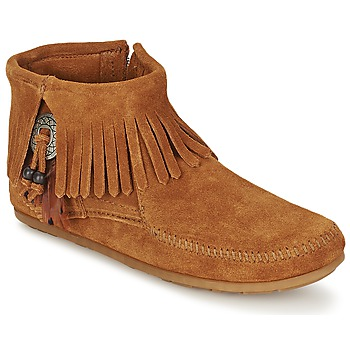 Sko Dame Støvler Minnetonka CONCHO FEATHER SIDE ZIP BOOT Brun
