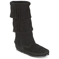 Sko Dame Chikke støvler Minnetonka CALF HI 3 LAYER FRINGE BOOT Sort