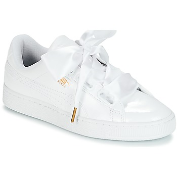 Sko Dame Lave sneakers Puma BASKET HEART PATENT WN'S Hvid