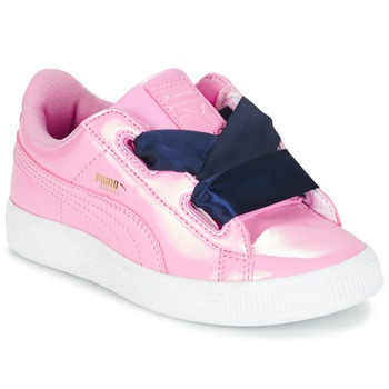 Sko Pige Lave sneakers Puma BASKET HEART PATENT PS Pink / Marineblå