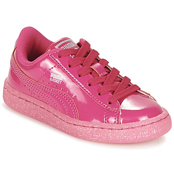 Sko Pige Lave sneakers Puma BASKET PATENT ICED GLITTER PS Pink