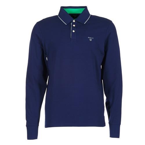 textil Herre Polo-t-shirts m. lange ærmer Gant 3-COL CONTAST RUGGER Marineblå