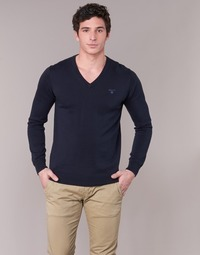 textil Herre Pullovere Gant WEIGHT COTTON V NECK Marineblå