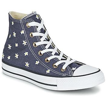 Sko Dame Høje sneakers Converse CHUCK TAYLOR ALL STAR DENIM FLORAL HI Marineblå / Gul / Hvid
