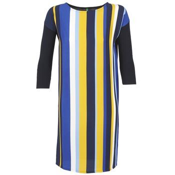 textil Dame Korte kjoler Benetton VAGODA Blå / Gul / Hvid