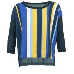 textil Dame Pullovere Benetton OVEZAK Blå / Gul / Hvid