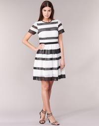 textil Dame Korte kjoler MICHAEL Michael Kors GRAPHIC CR STRIPE DRS Sort / Hvid