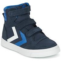 Sko Børn Høje sneakers Hummel STADIL CANVAS HIGH JR Blå / Hvid