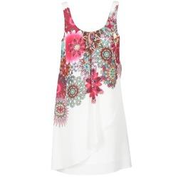 textil Dame Korte kjoler Desigual LIORASA Hvid / Rød / Pink
