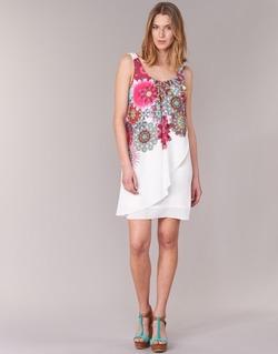 textil Dame Korte kjoler Desigual LIORASE Hvid / Rød / Pink