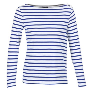textil Dame Langærmede T-shirts Petit Bateau FIX Hvid / Blå