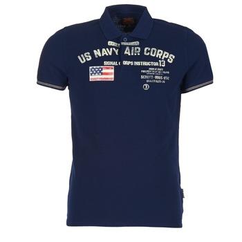 textil Herre Polo-t-shirts m. korte ærmer Schott ALEC Marineblå