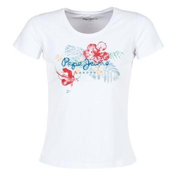 textil Dame T-shirts m. korte ærmer Pepe jeans AMBER Hvid