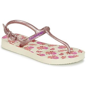 Sko Pige Flip flops Havaianas KIDS FREEDOM PRINT BEIGE / Pink