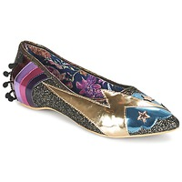 Sko Dame Ballerinaer Irregular Choice GROUND CONTROL Sort / Guld