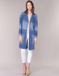 textil Dame Trenchcoats Cream DENIM TRENCHCOAT Denim