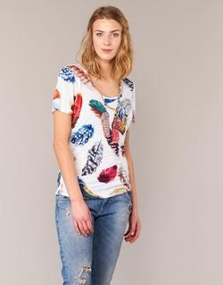 textil Dame T-shirts m. korte ærmer Derhy JACQUOT Hvid / Flerfarvet