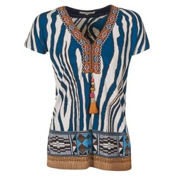 textil Dame T-shirts m. korte ærmer Derhy JAQUERIE Blå