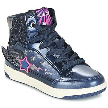 Sko Pige Høje sneakers Geox J CREAMY A Marineblå / Pink