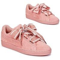 Sko Dame Lave sneakers Puma Basket Heart Satin Pink
