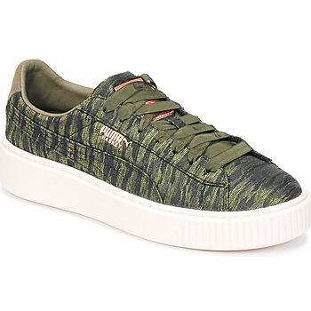 Sko Dame Lave sneakers Puma Basket Platform Bi Color Kaki