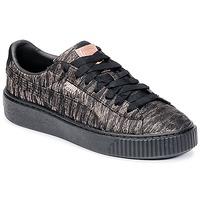 Sko Dame Lave sneakers Puma Basket Platform Bi Color Sort / Pink