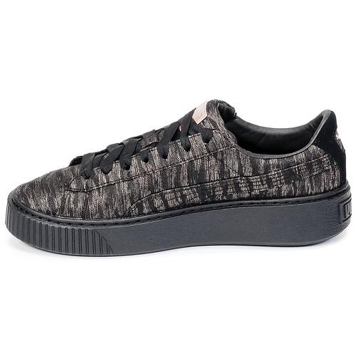 Puma Basket Platform Bi Color Sort / Pink - Gratis fragt- Sko Lave sneakers Dame 687,00