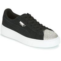 Sko Dame Lave sneakers Puma SUEDE PLATFORM GLAM JR Sort / Sølv