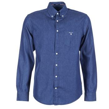 textil Herre Skjorter m. lange ærmer Gant THE INDIGO SHIRT Blå