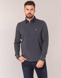 textil Herre Polo-t-shirts m. lange ærmer Gant THE ORIGINAL HEAVY RUGGER Grå